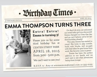 Newspaper Invitation Printable Newspaper Themed Birthday Photo Birthday Invitation