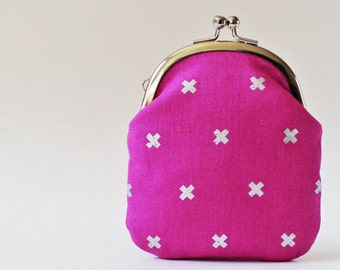 Business card holder card case coin purse change purse kiss lock purse silver crosses on fuchsia pink metallic geometric modern magenta