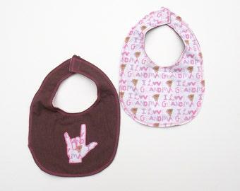 ASL I Love You Hand Baby Bib - Baby Sign Language Bib - Sign Language Baby Bib - I Love Grandma Baby Bib - Baby Bib -Pink and Brown Baby Bib