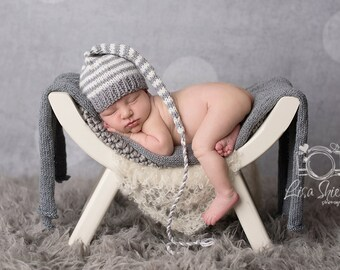 Newborn Baby Boy Knit Hat BaBY PHoTO PRoP Long Tail Stocking Cap UNiSeX BeANiE Grey Ivory Stripe PiCK CoLOR Neutral Munchkin Toque TaKE HoME