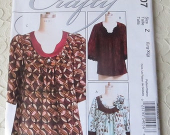 McCalls M5707 Crafty Sewing Pattern Pullover Tops Size Z Womens Lrg-Xlg 16-22, OOP