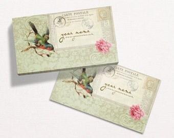 Business Cards  Custom Business Cards  Personalized Business Cards  Business Card Template  Vintage Business Cards  Bird Business Card V5