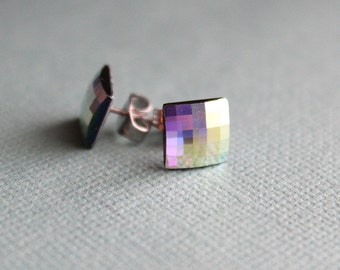 Square Swarovski Checkerboard Crystal Post Earrings - Surgical Steel - Crystal AB