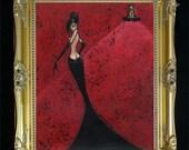 Black Widow Sexy Nude Woman Colorful Art Print by Shano from Original Painting Elegant -  Boudoir - Feminine - Femme Fatale