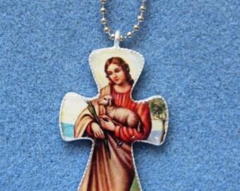 St. Agnes Handmade Catholic Resin Cross Crucifix Necklace Pendant A2