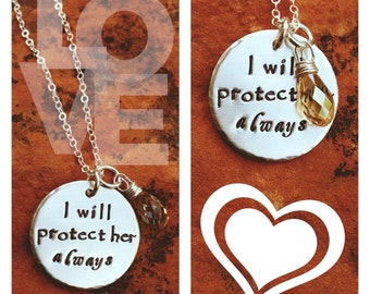 Hand Stamped Sterling Silver Wedding Engagement Mother in Law Gift Necklace