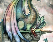 Protector - Fairy and Dragon Watercolor Illustration - Fine Art Giclee Print by Molly Harrison Fantasy Art