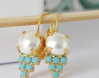 Swarovski Pearl Crystal Turquoise Earrings