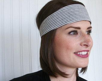 Gray and White Seersucker Headband - Fabric Headband - Womens Headband - Womens Hair Accessories