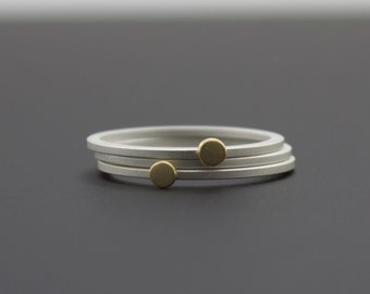 Sterling and Gold Dots Stackable Ring Set - Matte Finish Tiny Stacking Rings - Three Skinny Stack Rings - Custom Made Metalsmith Jewelry