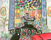 ORIGINAL PAINTING, 3 Black Cats on a Rainy Night in Venice on a Break by the Grand Canal, D M Laughlin