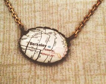 Vintage Map of Berkeley Pendant Necklace // collectable vintage style map necklace - Vintage Berkely Map Jewelry, oval glass pendant