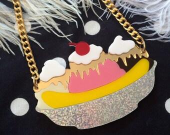 Banana Split Sundae Acrylic Necklace