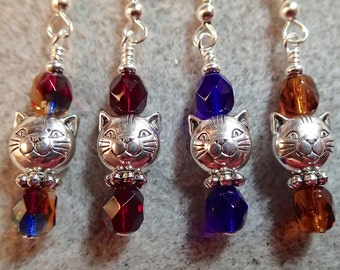 Choose Your Color or ask for another Silver Kitty Cat Face Earrings with Faceted Firepolish Beads Red Blue Amber