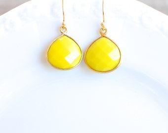 Bright Yellow Jewel Earrings. 24k Gold Vermeil Ear Wires. Fine Jewelry.