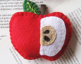 Red felt apple embroidered Christmas tree ornament