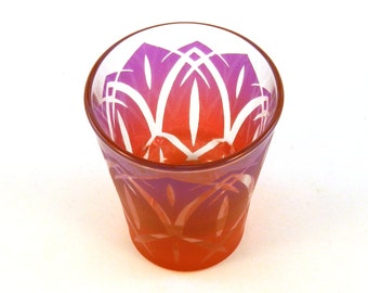 Lotus Blossom - 3oz Espresso Shot Glass - Etched and Painted Glassware - Custom Made to Order