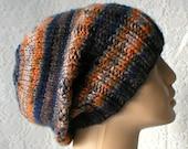Slouchy hat, brimmed beanie, watch cap, navy blue, grey, taupe, orange, rust, brown, striped hat, men's hat, biker cap, ski, snowboard