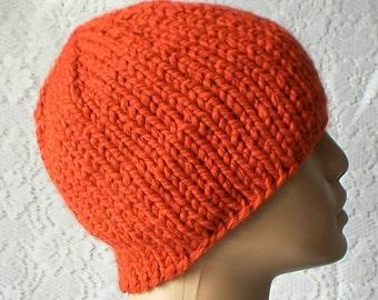 Orange beanie hat, skull cap, winter hat, beanie hat, knit hat, toque, hunter biker hiking runner, ski snowboard hat, mens womens hat