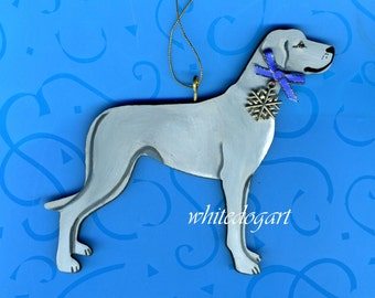 Uncropped Blue Great Dane Christmas Ornament