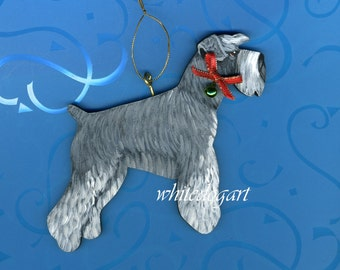 Handpainted Uncropped Gray Schnauzer Christmas Ornament