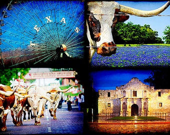 Texas Photography Collection #3 - Set of Four Decorative Prints - Alamo, longhorns, ferris wheel, bluebonnets