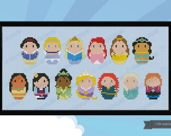 Storybook Princesses parody - Cross stitch PDF patterns