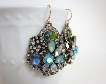 Rhinestone cluster earrings, statement earrings, huge earrings, art deco earrings, statement jewelry, crystal encrusted earrings, chunky
