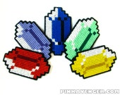 Rupee Coasters - Embroidered 8-Bit Style 4 Pack Of Drink Coasters - Zelda Themed Gamer Decorative Geekery - Videogame Decor