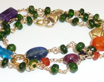 Piccadilly Circus - chrome diopside plus multi gemstone stations, vermeil and gold filled convertible necklace / bracelet