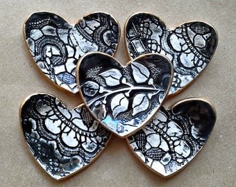 FIVE Heart Ring Bowls Black edged in gold  bridal shower favors itty bitty Ceramic