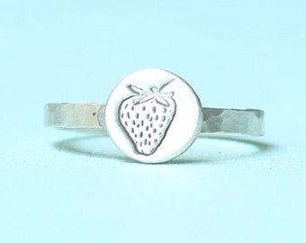 STRAWBERRY stacking ring, eco-friendly silver. Handcrafted by Chocolate and Steel