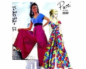 1960s Pucci High Waist Culottes Dress Vogue 2032 Vintage Sewing Pattern Size 12 Bust 34