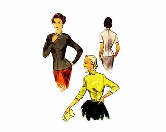 1950s Womens Jewel Neckline Blouse McCall 8236 Vintage Sewing Pattern Misses Size 12 Bust 30