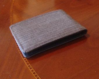 Mens Wallet  Slimline Grey Pinstriped  Standard  7 Pocket Billfold  Wool Silk bifold gray fresco lana