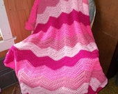 Love Pink-Ready- to ship-Chevron  Ripple Blanket Crochet Afghan-Shades of Pink -Valentines Day-Large size
