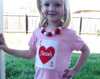 Queen of Hearts Valentines Initial Appliqued Tee