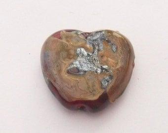 Lampwork Heart Red Silver Artisan Handmade SRA LETEAM Glassymom