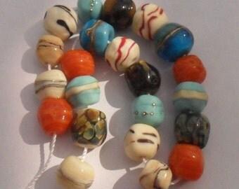Lampwork Organic Nuggets 22 Piece, Artisan Handmade Ivory Turquoise Raku, SRA LETEAM Glassymom
