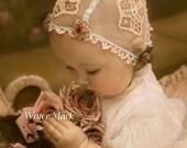 BABY*Quilt art fabric block*Sweetest little baby shear cap roses*O Darling*Supplies*Pillows*Sachets