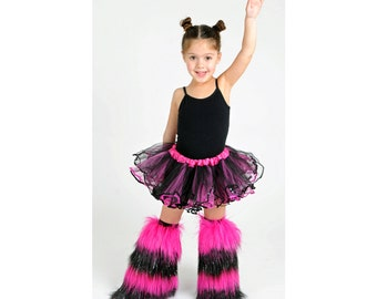 Girls Sparkle Striped Furry Leg Warmers Rave Kids Fluffies Child Dance Wear