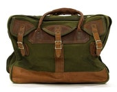 Orvis Cotton Canvas Duffel Bag with Leather Trim / Vintage 1980s Large Weekender Bag