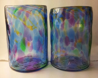 Multicolor, Handblown Glass Tumbler, Drinking Glass, Handmade in our Studios! 3.75 to 4.5 x 3 Inches
