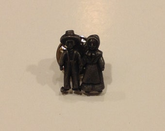 Vintage oldstock goth  demonic looking salem witch trial couple Tack pin new Old Stock pewter color made in U.S.A.