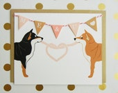 """Valentine's Day """"ME & YOU"""" Heart Macky the Shiba Inu Dogs Flag Garland Blank Note Card with Envelope"""