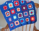 Granny Square Blanket for Baby Blue, Red, Yellow and Orange Ready to Ship