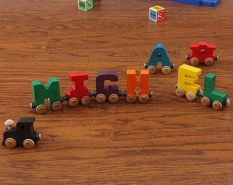 Children's Wooden Name Train (7 Letters): Primary or Pastel Colors