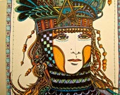 PRICE REDUCED!!! rubber stamp original tarot star  woman lady goddess spirit  letters Mary Vogel Lozinak  tateam EUC team  19682