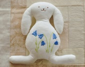 White Cotton easter Bunny with Embroidered Bluebells