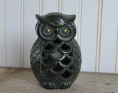 Vintage Owl Bank - Black Cast Iron - Silk Creek Gallery